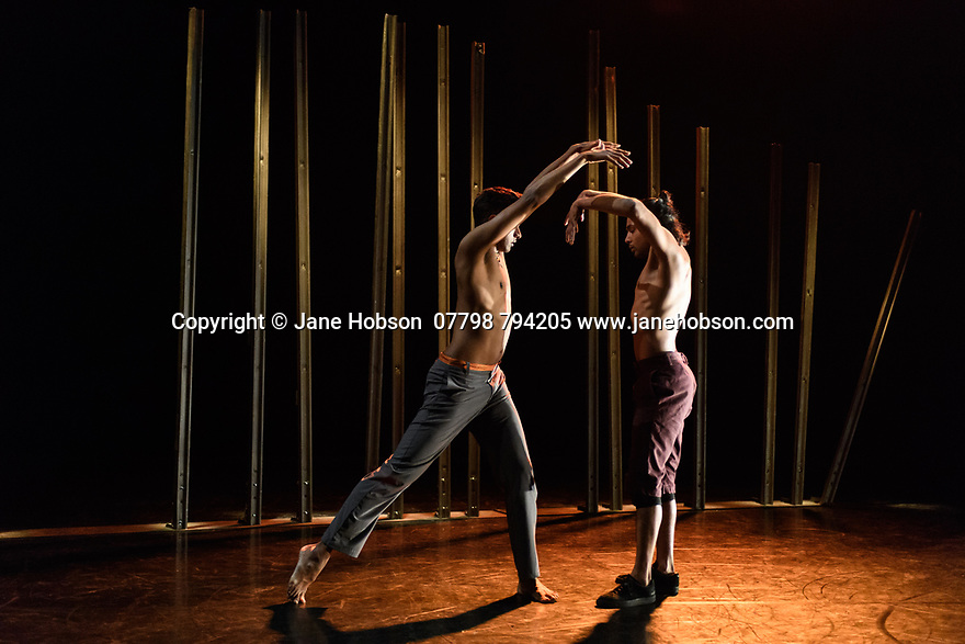 Shobana Jeyasingh presents the London premiere of MATERIAL MEN REDUX, at The Place. Dancers are: Shailesh Bahoran (purple trousers) and Sooraj Subramaniam (grey trousers).