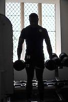 Semesa Rokoduguni in the gym. Bath Rugby pre-season training on July 16, 2013 at Farleigh House in Bath, England. Photo by: Patrick Khachfe/Onside Images