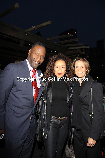 As The World Turns Tamara Tunie & husband Gregory Generet & tennis great Mary Carillo - The 2013 Skating with the Stars- a benefit gala for Figure Skating in Harlem on April 8, 2013 at Trump Wollman Rink, New York City, New York. (Photo by Sue Coflin/Max Photos)