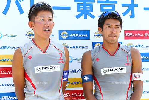 Shinya Hata &amp; Satoshi Watanabe,<br /> SEPTEMBER 21, 2015 - Beach Volleyball : <br /> JBV Tour 2015 Tokyo Open<br /> Men's Semi-Final<br /> at Odaiba Beach, Tokyo, Japan.<br /> (Photo by Shingo Ito/AFLO SPORT)