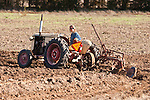 Antique tractors plowing a field in fall during the Branch 158 EDGE & TA Fall Plow Day and Plowing Seminar near Pleasant Grove, Calif...Silmer Scheidel Farm..C. 1950 Case VAO tractor with 2-bottom plow