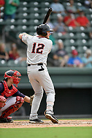 Right fielder Justin Jacobs (12) of the Hickory Crawdads bats in Game 1 of a doubleheader against the Greenville Drive on Wednesday, July 25, 2018, at Fluor Field at the West End in Greenville, South Carolina. Greenville won, 4-1. (Tom Priddy/Four Seam Images)