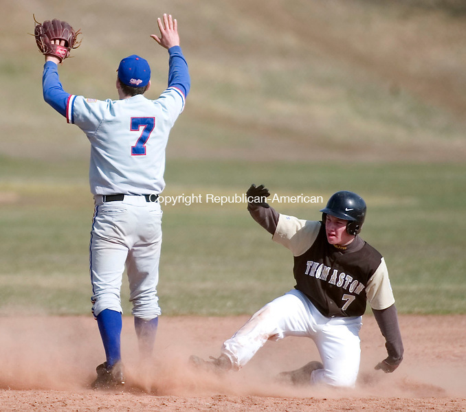 WOODBURY, CT- 11 APRIL 07- 041107JT09- <br /> Thomaston's Ben Yaffe safely slides to third as Nonnewaug's Mike Kuzma covers the bag at Wednesday's game at Nonnewaug. Thomaston won 4-2.<br /> Josalee Thrift Republican-American