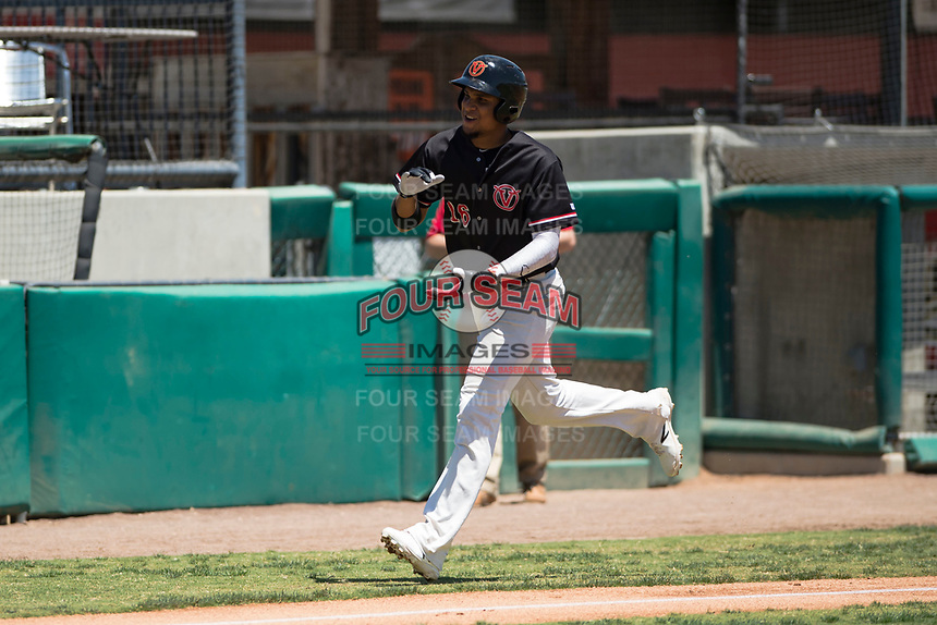 Visalia Rawhide right fielder Ramon Hernandez (16) rounds third base after hitting a two-run home run during a California League game against the Stockton Ports at Visalia Recreation Ballpark on May 9, 2018 in Visalia, California. Stockton defeated Visalia 4-2. (Zachary Lucy/Four Seam Images)