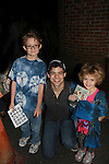 """Jeremy Jordan """"Jack Kelly"""" stars in The Newsies and poses with Kameron and Stephanie - The Newsies Fan Day at The Paper Mill Playhouse on October 2, 2010 in Millburn, New Jersey with current cast members and cast members of the film. It was a day of events to all devoted fans of Newsies - Radio Disney at 4 pm, executive reception for members of the original cast of Newsies (the movie) followed by a talkback, Q&A in the theater - all this followed by the evening performance of Newsies with the Curtain Call, old cast meets new cast and a cast photo of all. (Photo by Sue Coflin/Max Photos)"""