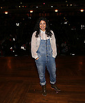 Stephanie Klemonsfrom 'Hamilton' greets High School student performers from The Rockefeller Foundation, and The Gilder Lehrman Institute of American History before a 'Hamilton' matinee performance at the Richard Rodgers Theatre on 11/30/2016 in New York City.