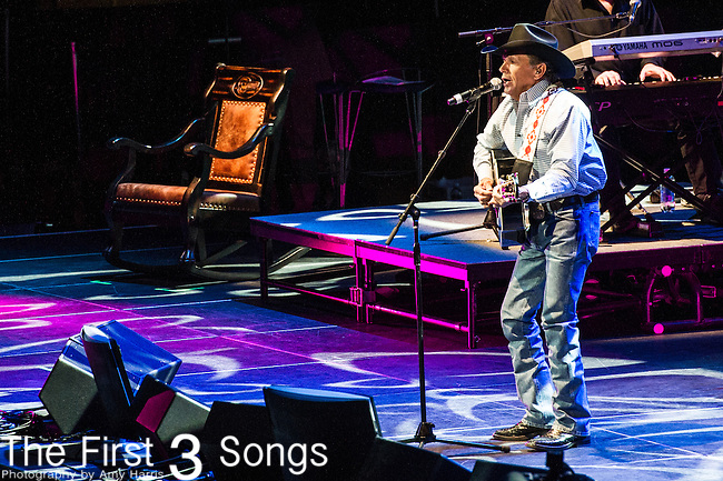 "George Strait performs at the George Jones Tribute Concert ""Playin' Possum: The Final No Show"" at Bridgestone Arena in Nashville, TN"