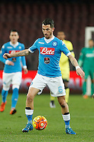 Napoli's Mirko Valdifiori controls the ball during the Quartef-final of Tim Cup soccer match,between SSC Napoli and vFC Inter    at  the San  Paolo   stadium in Naples  Italy , January 20, 2016