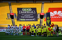 The teams line up before the A-League football match between Wellington Phoenix and Brisbane Roar at Westpac Stadium in Wellington, New Zealand on Saturday, 23 November 2019. Photo: Dave Lintott / lintottphoto.co.nz