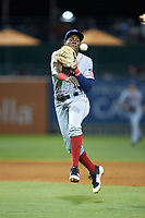 Hagerstown Suns second baseman Juan Pascal (10) makes a throw to first base against the Greensboro Grasshoppers at First National Bank Field on April 6, 2019 in Greensboro, North Carolina. The Suns defeated the Grasshoppers 6-5. (Brian Westerholt/Four Seam Images)