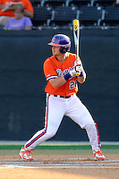 Left fielder Reed Rohlman (26) of the Clemson Tigers bats in a game against the Wofford College Terriers on Tuesday, May 5, 2015, at Russell C. King Field in Spartanburg, South Carolina. Wofford won, 17-9. (Tom Priddy/Four Seam Images)