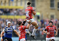 Lewis Ludlow of Gloucester Rugby claims the ball in the air. Gallagher Premiership match, between Bath Rugby and Gloucester Rugby on September 8, 2018 at the Recreation Ground in Bath, England. Photo by: Patrick Khachfe / Onside Images