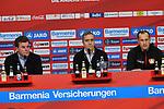 10.03.2018, BayArena, Leverkusen , GER, 1.FBL., Bayer 04 Leverkusen vs. Borussia Moenchengladbach<br /> im Bild / picture shows: <br /> Pressekonferenz (PK) nach dem Spiel,  li Dieter Hecking Trainer/Headcoach (Gladbach), mitte Dirk Mesch Pressesprecher Bayer 04 Leverkusen re Heiko Herrlich Trainer (Bayer Leverkusen),<br /> <br /> <br /> Foto &copy; nordphoto / Meuter
