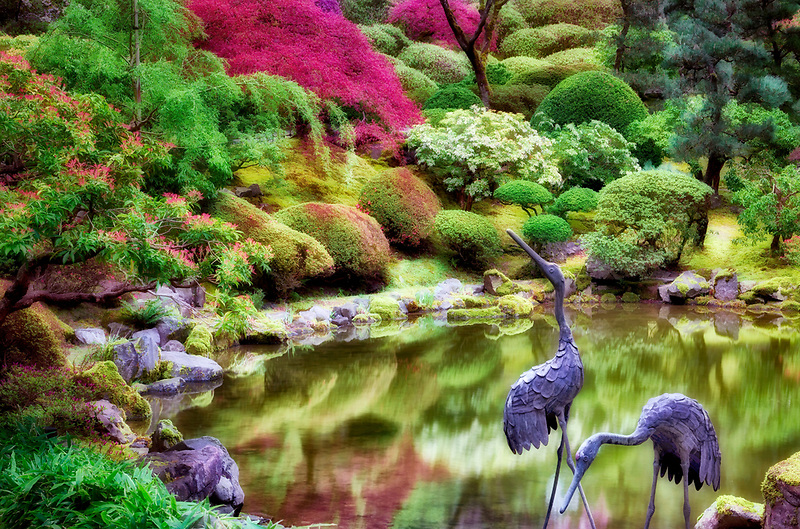 Pond with heron sculpture and early spring growth. Portland Japanese Gardens, Oregon.