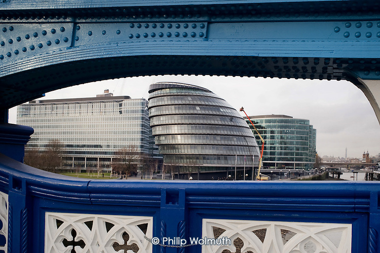 City Hall, which houses the Greater London Authority and the Mayor's office, seen from Tower Bridge.