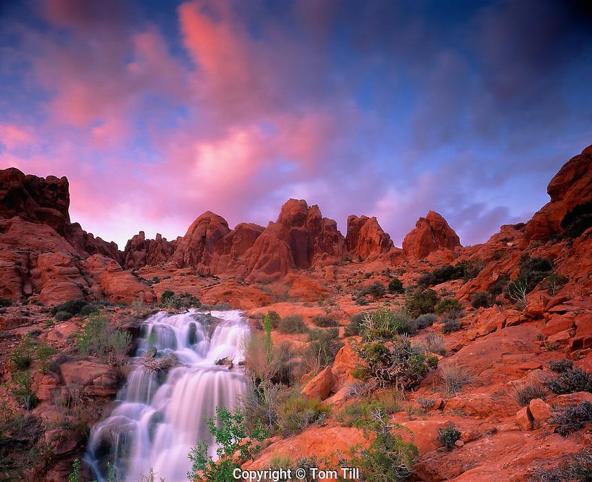 Desert Waterfall at Sunset, Utah    Near Moab, Utah  Waters from La Sal Mountains