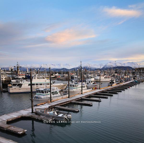 Snow Capped Mountains And Boats Under A Beautiful Morning Sky, In Harbor At Homer Alaska, Kenai Peninsula, USA