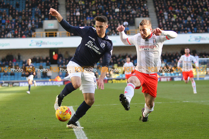 Lee Gregory of Millwall and Nikolay Bodurov of Fulham- Millwall vs Fulham - Sky Bet Championship Football at the New Den, Bermondsey, London - 21/02/15 - MANDATORY CREDIT: George Phillipou/TGSPHOTO - Self billing applies where appropriate - contact@tgsphoto.co.uk - NO UNPAID USE