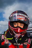 Aug 31, 2014; Clermont, IN, USA; NHRA top fuel dragster driver Leah Pritchett during qualifying for the US Nationals at Lucas Oil Raceway. Mandatory Credit: Mark J. Rebilas-USA TODAY Sports