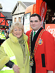 Mayor of Drogheda Kevin Callan  pictured with parade organizer Isobel San Roma at the Drogheda St. Patrick's day parade . Photo: Colin Bell/pressphotos.ie