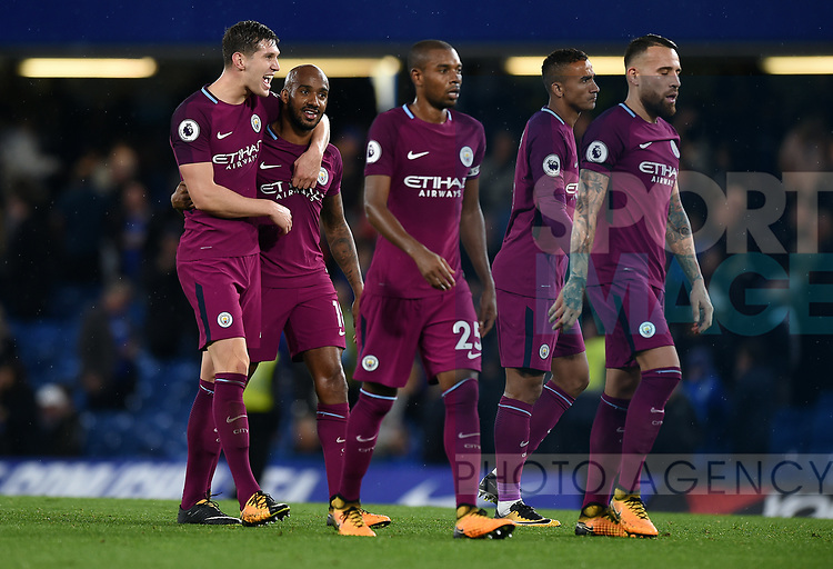 John Stones of Manchester City celebrates at the end of the premier league match at the Stamford Bridge stadium, London. Picture date 30th September 2017. Picture credit should read: Robin Parker/Sportimage