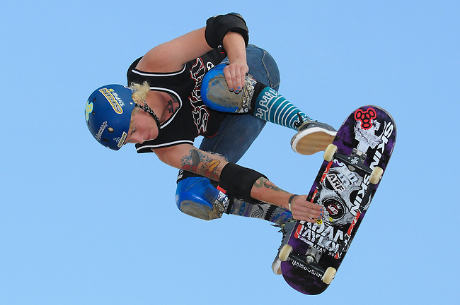 17 August, 2012:  Adam Taylor competes in the Skateboard Vert semi-final at the Pantech Beach Championships in Ocean City, MD.