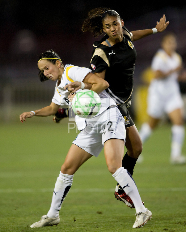 23 July 2009:  Manya Makoski of the Los Angeles Sol fights for the ball against Adriane of the FC Gold Pride during the second half of the game at Buck Shaw Stadium in Santa Clara, California.   FC Gold Pride tied Los Angeles Sol, 0-0.