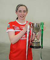 20th September 2014; <br /> Catriona Casey of Cork with the cup after the game.<br /> M Donnelly All-Ireland Ladies 60x30 Handball Singes Final<br /> Catriona Casey (Cork) v Martina McMahon (Limerick) . <br /> Abbeylara, Co Longford<br /> Picture credit: Tommy Grealy/actionshots.ie