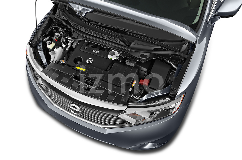Car Stock2015 Nissan Quest SV 5 Door Minivan Engine high angle detail view