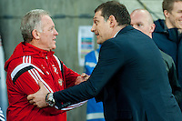 Swansea Caretaker Manager, Alan Curtis shakes hands with Manager of West Ham United, Slaven Bilic  during the Barclays Premier League match between Swansea City and West Ham United played at the Liberty Stadium, Swansea  on December 20th 2015