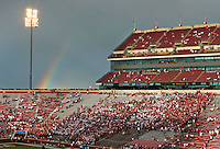 A rainbow appears over the student section as the sun came out after severe thunderstorms rolled through Norman, Ok., delaying Saturday's NCCAA Division I football game between the Ohio State Buckeyes and the Oklahoma Sooners at Gaylord Family - Oklahoma Memorial Stadium in Norman, Ok., on September 17, 2016. (Barbara J. Perenic/The Columbus Dispatch)