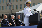 Arlington, VA - September 11, 2008 -- Chairman of the Joint Chiefs of Staff Navy Adm. Mike Mullen speaks at the Pentagon Memorial dedication ceremony Sept. 11, 2008. The national memorial is the first to be dedicated to those killed at the Pentagon on Sept. 11, 2001. The site contains 184 inscribed memorial units honoring the 59 people aboard American Airlines Flight 77 and the 125 in the building who lost their lives that day. .Credit: Cherie Cullen - DoD via CNP