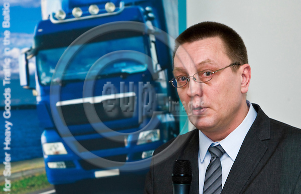 """BRUSSELS  -  BELGIUM  - 14 APRIL 2011 -- C.A.S.H (Connecting Authorities for Safer Heavy Goods Traffic in the Baltic Sea Region) roundtable event on: """"A Reality Check on European Road Freight Safety - Views of the Policymakers, Industry and Law Enforcement"""" -- Riho Tänak, Inspector, Police and Border Guard Board, Estonia during his speech.. -- PHOTO: Juha ROININEN / EUP-Images."""