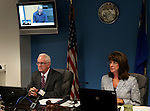 O.J. Simpson, in custody at the Lovelock Correctional Center, appears before Nevada Board of Parole members Robin Bates and Susan Jackson via video conference, in Carson City, Nev., on Thursday, July 25, 2013. <br /> Photo by Cathleen Allison