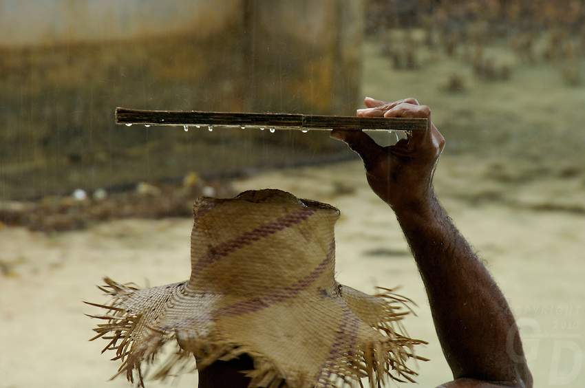 FISHERMAN DURING A TROPICAL RAINSHOWER,CHUUK, MICRONESIA, PACIFIC