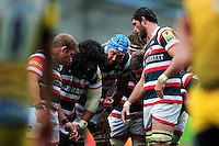 The Leicester Tigers forwards huddle together prior to a lineout. Aviva Premiership match, between Leicester Tigers and Worcester Warriors on October 8, 2016 at Welford Road in Leicester, England. Photo by: Patrick Khachfe / JMP