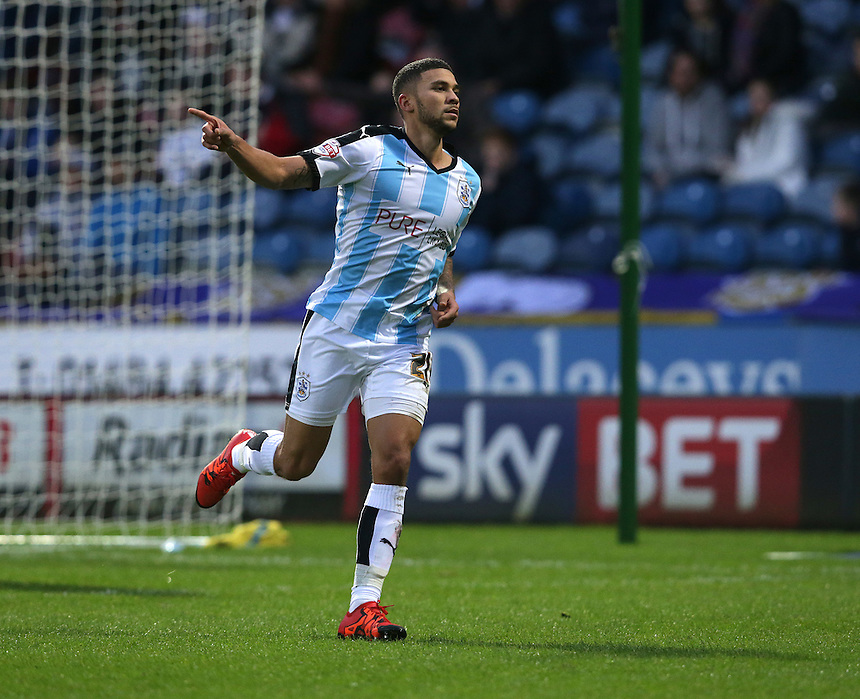 Huddersfield Town's Nahki Wells celebrates scoring the opening goal <br /> <br /> Photographer Stephen White/CameraSport<br /> <br /> Football - The Football League Sky Bet Championship - Huddersfield Town v Preston North End - Saturday 26th December 2015 - The John Smith's Stadium - Huddersfield<br /> <br /> &copy; CameraSport - 43 Linden Ave. Countesthorpe. Leicester. England. LE8 5PG - Tel: +44 (0) 116 277 4147 - admin@camerasport.com - www.camerasport.com