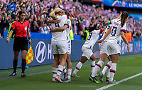 LE HAVRE,  - JUNE 20: Lindsey Horan #9 celebrates her goal with Tobin Heath #17 during a game between Sweden and USWNT at Stade Oceane on June 20, 2019 in Le Havre, France.
