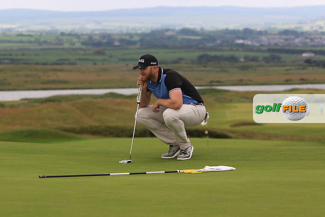 Peter O'Keeffe (Douglas) on the 17th green during Round 2 of the North of Ireland Amateur Open Championship 2019 at Portstewart Golf Club, Portstewart, Co. Antrim on Tuesday 9th July 2019.<br /> Picture:  Thos Caffrey / Golffile<br /> <br /> All photos usage must carry mandatory copyright credit (© Golffile   Thos Caffrey)