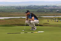 Peter O'Keeffe (Douglas) on the 17th green during Round 2 of the North of Ireland Amateur Open Championship 2019 at Portstewart Golf Club, Portstewart, Co. Antrim on Tuesday 9th July 2019.<br /> Picture:  Thos Caffrey / Golffile<br /> <br /> All photos usage must carry mandatory copyright credit (© Golffile | Thos Caffrey)
