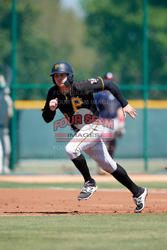 Pittsburgh Pirates Conner Uselton (43) during a Minor League Spring Training game against the Atlanta Braves on March 13, 2018 at Pirate City in Bradenton, Florida.  (Mike Janes/Four Seam Images)