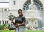 Serena Williams displays her 2015 Womens Singles Champion trophy at Carlton Gardens  after winning the Australian Open being played at Melbourne Park in Melbourne, Australia on February 1, 2015