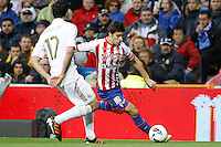 14.04.2012 SPAIN -  La Liga matchday 34th  match played between Real Madrid CF vs Real Sporting de Gijon (3-1) at Santiago Bernabeu stadium. The picture show  Alvaro Arbeloa Coca (Spanish defender of Real Madrid) and  Miguel Angel de las Cuevas Barbera