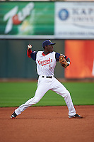 Cedar Rapids Kernels shortstop Nick Gordon (5) throws to first during a game against the Kane County Cougars on August 18, 2015 at Perfect Game Field in Cedar Rapids, Iowa.  Kane County defeated Cedar Rapids 1-0.  (Mike Janes/Four Seam Images)