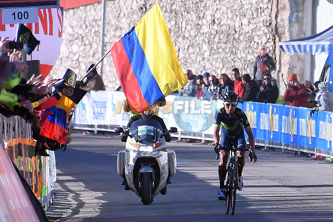 Nairo Quintana (COL) Movistar Team wins Stage 4 of the 2017 Tirreno Adriatico running 187km from Montalto di Castro to Terminillo, Italy. 11th March 2017.<br /> Picture: La Presse/Gian Mattia D'Alberto  | Cyclefile<br /> <br /> <br /> All photos usage must carry mandatory copyright credit (&copy; Cyclefile | La Presse)