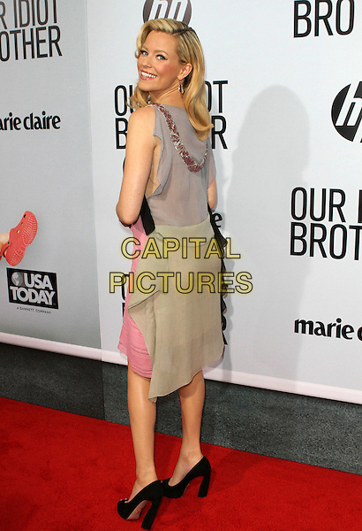 "Elizabeth Banks.""Our Idiot Brother"" Los Angeles Premiere held at Arclight Cinemas, Hollywood, California, USA..August 16th, 2011.full length sleeveless black pink beads collar dress grey gray back behind rear looking over shoulder dress .CAP/ADM/KB.©Kevan Brooks/AdMedia/Capital Pictures."