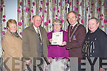 Bishop Moynihan Cresent was presented Best Small Estate at the Killarney Looking Good annual awards in the Dromhall Hotel on Thursday night l-r: Cait Griffin, Con Griffin, Breda Sheehan, Killarney Mayor Michael Gleeson and Dan McCarthy