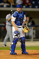 Pensacola Blue Wahoos catcher Tucker Barnhart #7 during a game against the Jacksonville Suns on April 15, 2013 at Pensacola Bayfront Stadium in Pensacola, Florida.  Jacksonville defeated Pensacola 1-0 in 11 innings.  (Mike Janes/Four Seam Images)