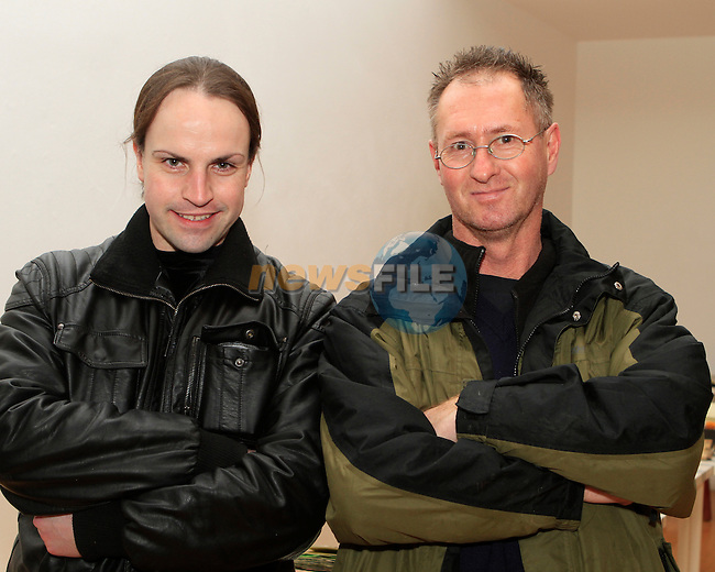 """Baz O'Sioradain and Munich Reilly at the Screening of Frank Kelly's Film """"Derelict"""" in the Droichead Arts Centre...Photo NEWSFILE/Jenny Matthews..(Photo credit should read Jenny Matthews/NEWSFILE)"""