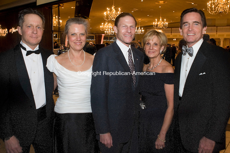 PLANTSVILLE, CT - 07 FEBRUARY 2009 -020709JT17-<br /> From left, Stephen and Maureen Griffin with Atty. Gen. Richard Blumenthal and Catherine and Jim Smith, CEO of Webster Bank, at Saint Mary's Hospital's 18th annual gala, &quot;100 Years of Caring,&quot; sponsored by the Saint Mary's Hospital Foundation, on Saturday, Feb. 7 at the Aqua Turf in Plantsville. Proceeds benefit patient care services.<br /> Josalee Thrift / Republican-American